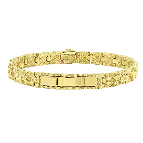 "The Bling Factory 8mm 14k Yellow Gold Plated Chunky Nugget Textured ID Link Bracelet, 7"" + Jewelry Polishing Cloth"