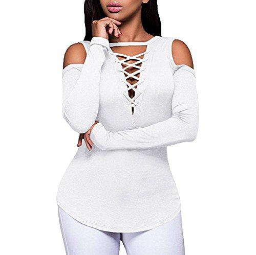 5XL Sexy Tunique T Pull Blouse Femme Taille Shirt Femmes Col sans Shirts Bretelles Blanc Tops Chemises V Blouse ~ Wolfleague Chemisier Couleur Longue Bandage Grande Unie Femme Manche S qn1gxtpaUw