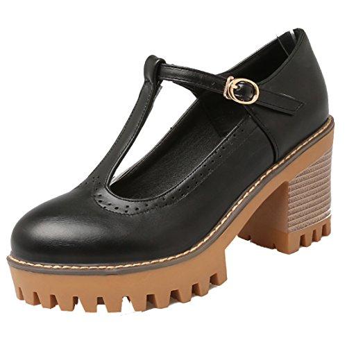 Aiyoumei Femmes Bout Rond Bloc Talon T Sangle Moderne Pompes Chaussures Noir