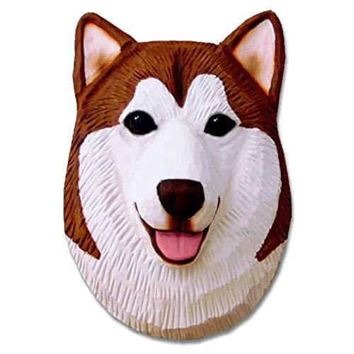 Ky & Co YesKela Alaskan Malamute Head Plaque Figurine Red/White