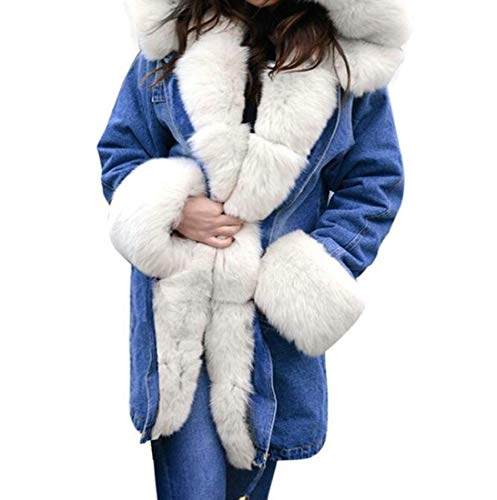 YIhujiuben Women Overcoat Faux-Fur Collar Hoodie Denim for sale  Delivered anywhere in USA