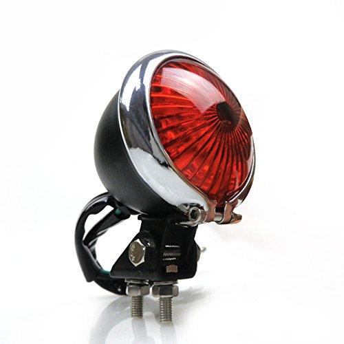 Black/Chrome LED Bates Style Stop Brake Tail light for Honda Harley Kawasaki Yamaha Suzuki Cafe Racer Bobber Custom