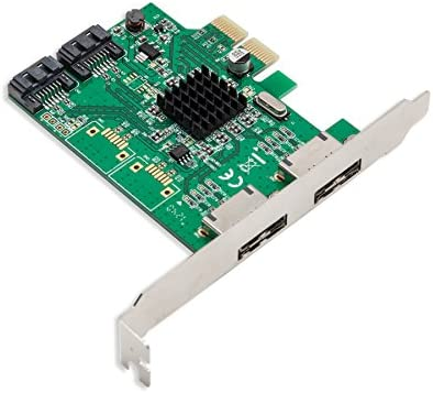 Syba - Tarjeta PCI-E 2.0 eSATA III (2 puertos, Marvell HyperDuo, modo RAID, placas de perfil bajo)
