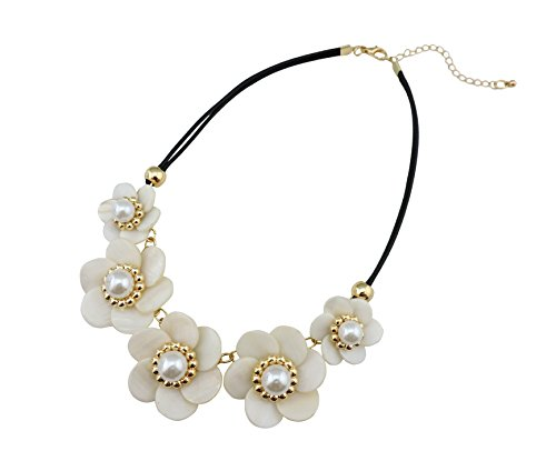 Bocar Newest Shell Pearl Flower Alloy Choker Statement Necklace for Women Gift - Flowers Beaded Necklace