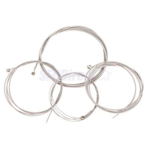 (Set of 4 String Bass Guitar Parts 4 Stainless Steel Silver Plated Gauge Strings)
