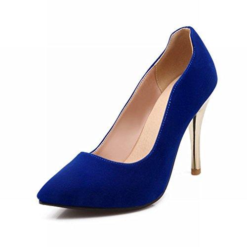 Latasa Femmes Mode Faux Suède Pointu Toe Stiletto Robe À Talons Hauts Chaussures Chaussures Bleu