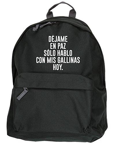 HippoWarehouse Déjame En Paz, Hoy Solo Hablo Con Mis Gallinas kit mochila Dimensiones: 31 x 42 x 21 cm Capacidad: 18 litros Negro
