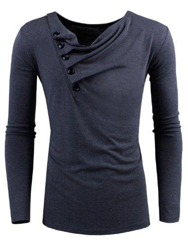 TAM WARE Mens Premium Slim Fit Henley Long sleeve T-Shirt TWCT01