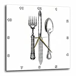 3dRose Black and White Vintage Cutlery Set - Fancy Fork Knife and Spoon Drawing - Restaurant Kitchen Chef - Wall Clock, 10 by 10-Inch (dpp_161556_1)