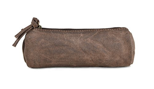 Gootium Vintage Waxed Canvas Pencil Case Organizer For Students And Artists, 7.9'x2'x2.8', Coffee
