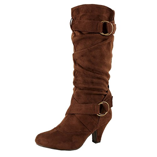 Mid Calf Brown Winter Shoes (Guilty Shoes Winter Mid Calf Strappy Slouchy Buckle Low Kitten Heel Boot Boots, 38 Brown Suede, 8.5 (B) M US)