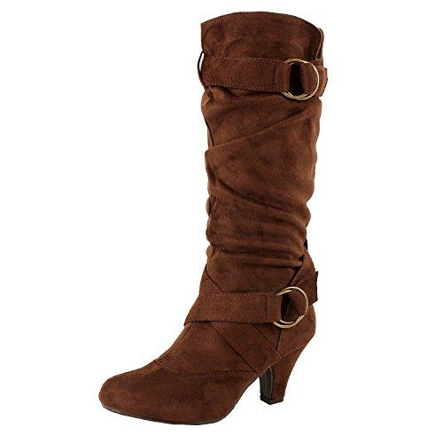 Guilty Schuhe Frauen Winter Mitte Kalb Strappy Slouchy Schnalle Low Kitten Heel Mode Stiefel 38 Braunes Wildleder