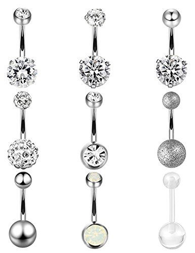 Masedy 9Pcs 14G 316L Stainless Steel Belly Button Rings for Women Crystal CZ Screw Navel Rings Body Piercing White - Crystal Heart Navel Ring