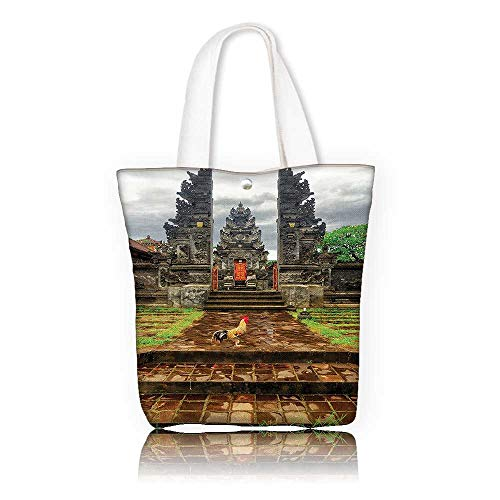 Women's Canvas Tote Handbags —W23 x H14 x D7 INCH/women Large Work tote Bag Shoulder Travel Totes Beach Balinese Decor Traditional Balinese Architecture Gate of Temple Tourist Attractions Asian Monu