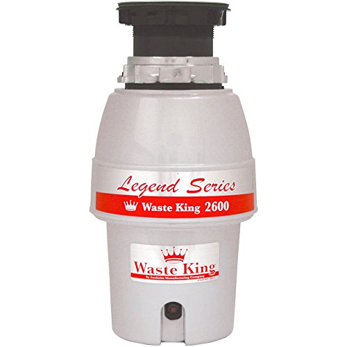 Energy Efficient Finish - Waste King Legend Series 1/2 HP Continuous Feed Garbage Disposal with Power Cord - (L-2600)