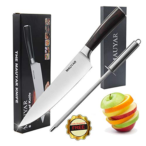 Chef Knife - Professional 8 Inch Chef's Knife German High Carbon Stainless Steel Kitchen Knife Multipurpose Razor Sharp Chefs Knives with Ergonomic Handle Best for Home Kitchen & Restaurant by MAUYAR ()