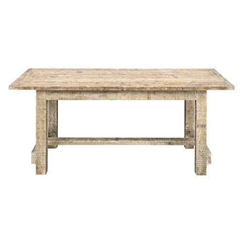 Gathering Table Trestle Base - Emerald Home Interlude Sandstone Gray Gathering Height Dining Table with Straight Timber Trestle Base