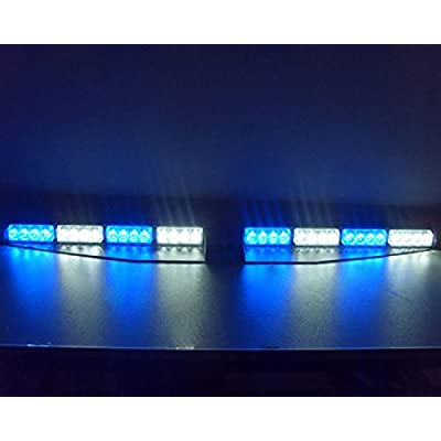 VSLED 2-16 LED 32 Watt Blue/White/Blue/White LED Light Car Truck Emergency Beacon Light Bar Exclusive Split Visor Deck Dash Strobe Warning LightBar: Automotive