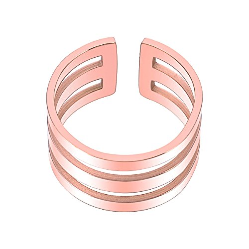 Women Fashion Open Ring Rose Gold Stainless Steel Adjustable Wedding Engagement Band