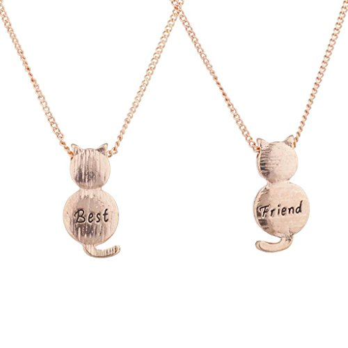Lux Accessories Rose Gold Tone Best Friend BFF Cat Kitten Kitty Necklace Set (Gold Tone Cat)