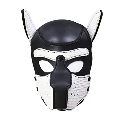 Zhengya Full Face Mask Dog Puppy Hood Leather Helmet Removable Mouth Cosplay Costume Party Props(Black&White) -
