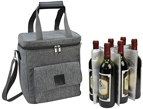 Wine Carrier 6 Bottle Capacity | Highest Quality Wine Bag for Wine Lover Gifts for Travel Beach and Picnic | Insulated Wine Tote Bag with Handle and Shoulder Strap | ()