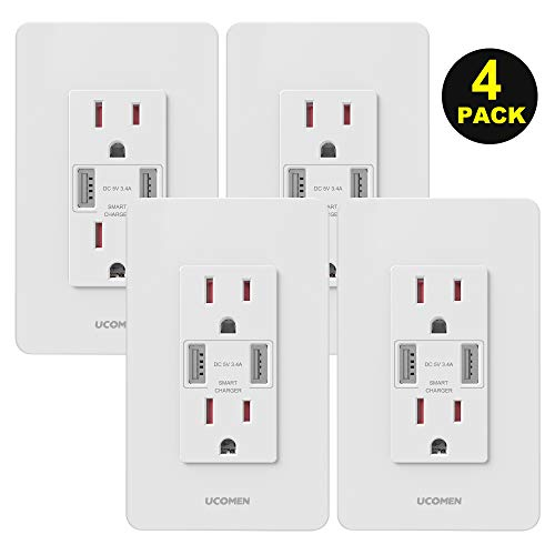 UCOMEN 3.4A Wall Outlets High Speed USB Charger 15A Tamper-Resistant Receptacle Outlet White, 4 Pack