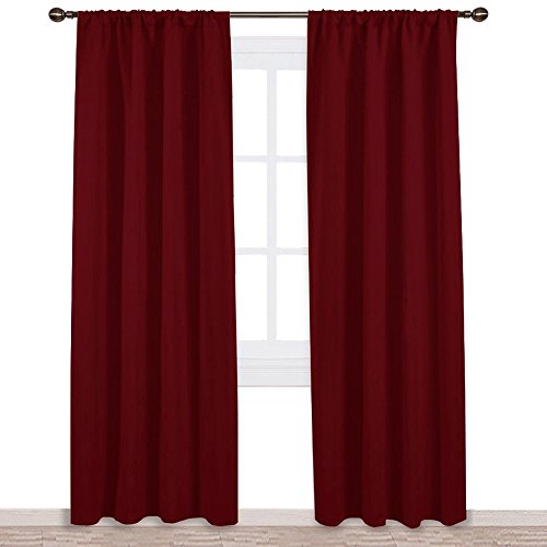 NICETOWN Burgundy Curtains Blackout Drapes - Home Decorations Thermal Insulated Solid Blackout Living Room Curtains/Draperies for Basement(One Set,42 x 84-Inch,Red) (Set Room Red Living)