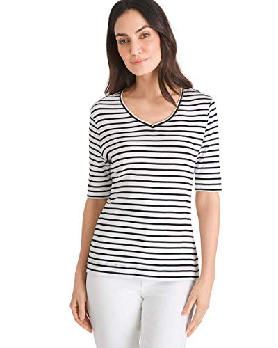 Chico's Women's Striped Supima Cotton V-Neck Tee Size 16/18 XL (3) - Top Striped Sleeve V-neck
