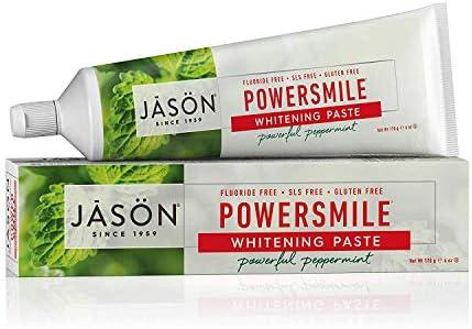 Jason Organic Toothpaste Powersmile Whitening Peppermint Fluoride Free 170g