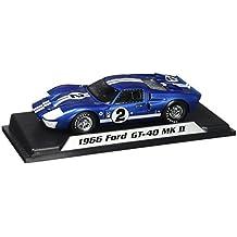 1966 Ford GT-40 MK II #2, Blue w/ White Stripes - Shelby SC401 - 1/18 Scale Diecast Model Toy Car