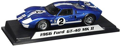 1966 Ford GT-40 MK II #2, Blue w/ White Stripes - Shelby SC401 - 1/18 Scale Diecast Model Toy Car -