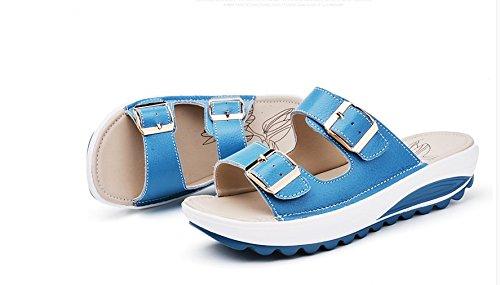 Xing Lin Sandalias De Mujer Sandalias Planas De Verano Mujer Nueva Pendiente De Cuero Antideslizante Para Mujeres Embarazadas Moda Casual Fondo Blando Zapatillas Lake Blue