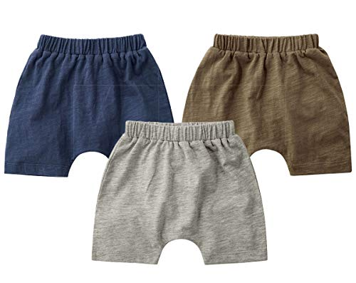 Teach Leanbh Unisex-Baby 3-Pack Cotton Soild Color Short with Drawstring 3-24 Months (12-18 Months, Gray/Sapphire/Brown) ()