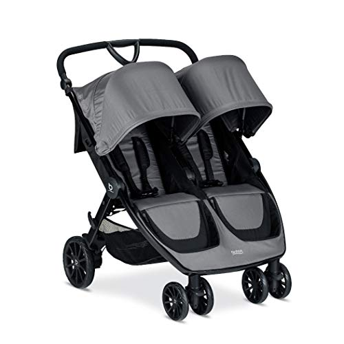BRITAX B-Lively Double Stroller | Adjustable Handlebar + Easy Fold + Infinite Recline + Front Access Storage, Dove