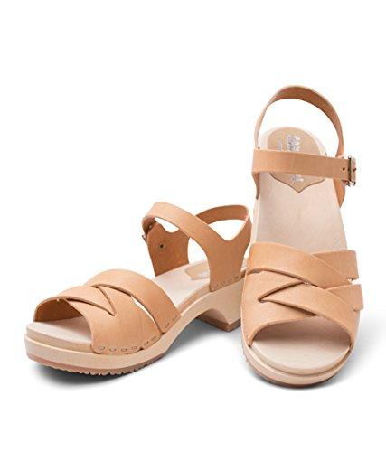 Sandgrens Swedish Wooden Low Heel Clog Sandals for Women | Rio Grande Nude, EU 40 by Sandgrens (Image #2)