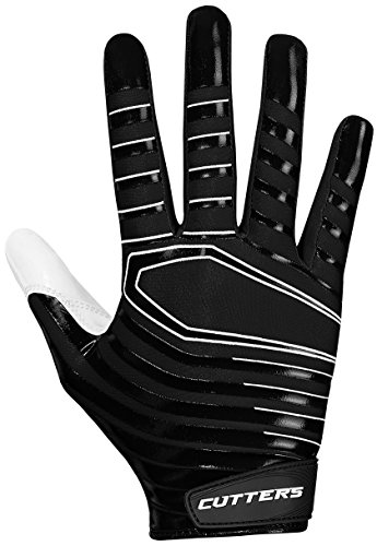 Cutters Mens Football Receiver Glove - Cutters Gloves S252 Rev 3.0 Receiver Gloves, Black, Large