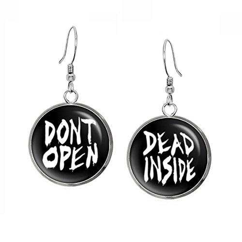 Dont Open Dead Inside Earrings Walking Pendant Necklace Zombie Jewelry Z Nation Zombies Birthday Gift Geek Geeky Gifts