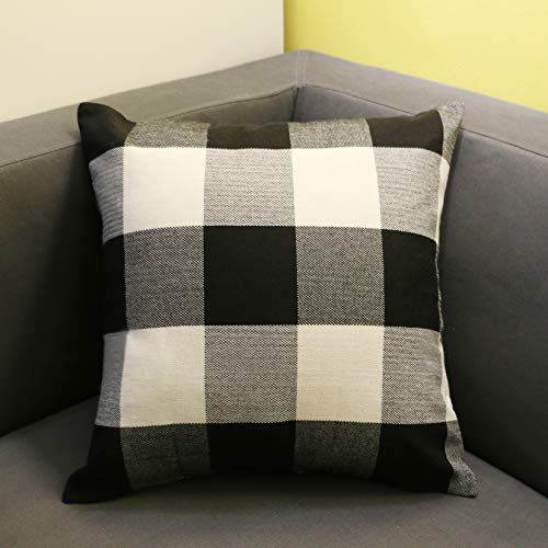 Pillow Checkered (O-heart Black and White Buffalo Checkers Plaids Cotton Linen Throw Pillow Covers Cushion Covers Pillow cases Retro Home Farmhouse Decor for Sofa 18 x 18 Inch 45 x 45 cm)
