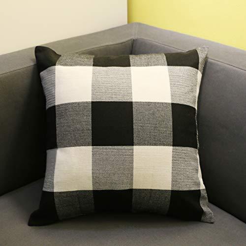 Checkered Pillow (O-heart Black and White Buffalo Checkers Plaids Cotton Linen Throw Pillow Covers Cushion Covers Pillow cases Retro Home Farmhouse Decor for Sofa 18 x 18 Inch 45 x 45 cm)