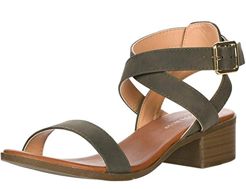 ion-75 Ankle Strap Open Toe Heeled Sandal Olive 7 ()