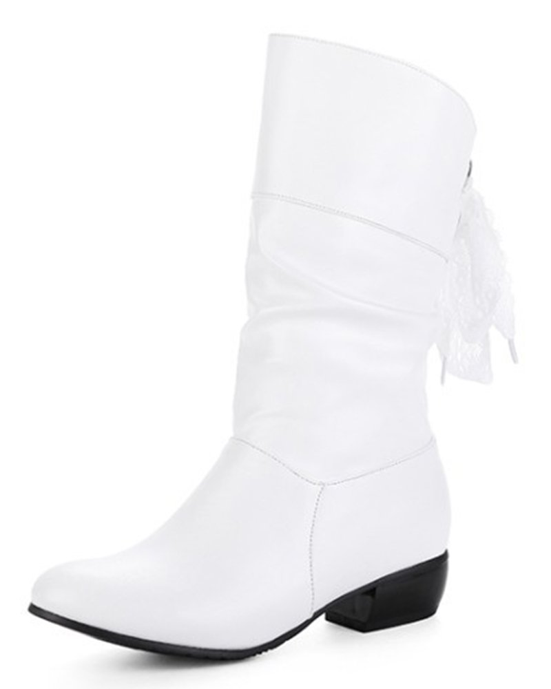 Aisun Women's Casual Laces Round Toe Ruched Pull On Block Low Heel Mid Calf Slouchy Boots (White, 8.5 B(M) US) by Aisun (Image #1)