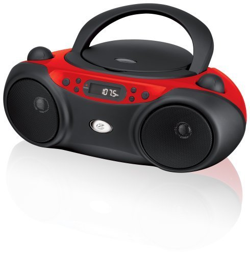 GPX, Inc.  Portable Top-Loading CD Boombox with AM/FM Radio and 3.5mm Line In for MP3 Device – Red/Black