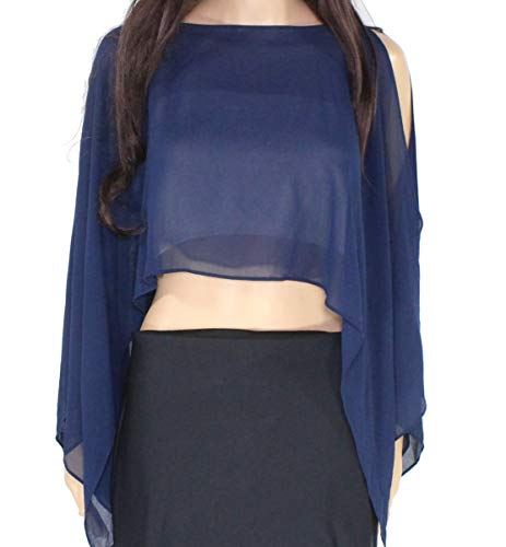 Lauren by Ralph Lauren Women's Large Poncho Sheer Blouse Blue L