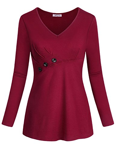Office Blouses for Women, SeSe Code V-Neck Long Sleeve