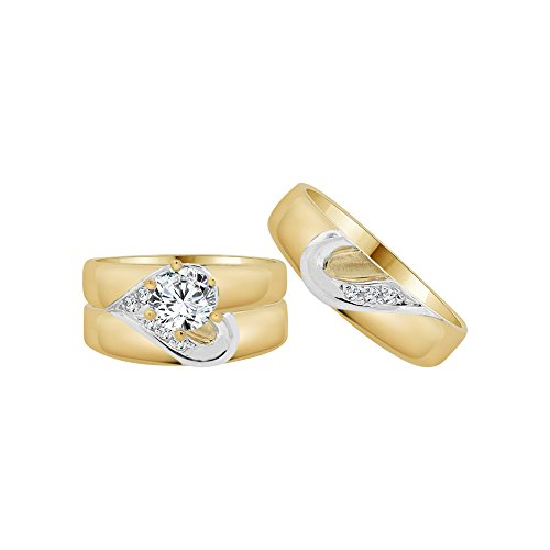14k Yellow Gold White Rhodium, Trio 3 Piece Wedding Ring Heart Round Created CZ Crystals 1.0ct by GiveMeGold