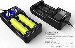 Dilusi Cargador de Baterías para Cargar AA, AAA, Ni-MH Ni-CD y Li-Ion Cilíndrico Pila Recargable. Li-Ion:17670, 17500, 18490, 18650, 16340 (RCR123), ...