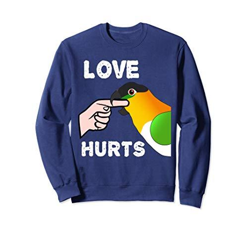 Black Headed Caique Parrot T-shirt - Black Headed Caique Parrot - Love Hurts Biting Sweatshirt