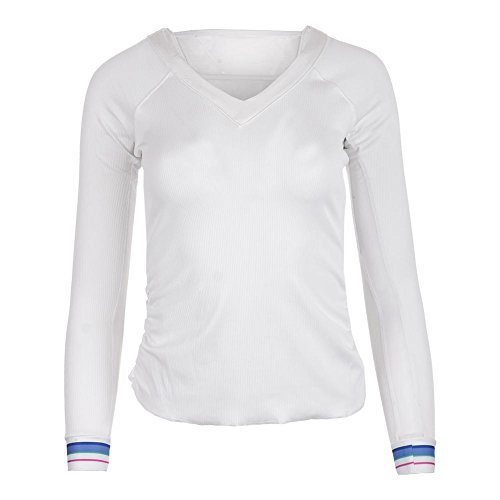 Lucky In Love Women`s Stripe V-Neck Rib Long Sleeve Tennis Top White-(6552958521 by Lucky In Love (Image #1)