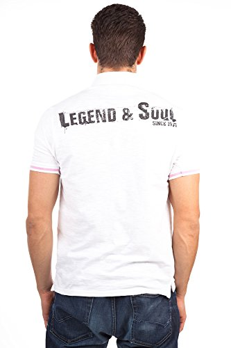 Legend & Soul Herren kurzarm Poloshirt weiß PS03-White